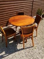 Thonet étkezőasztal ,ebédlőasztal 4 db jelzett Lichtig székkel,garnitúra,kerek asztal