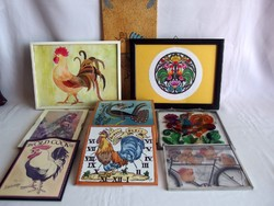 9 db régi festett kakas formájú fali dísz, dísztárgy, fa, üveg, fém, papír, csempe anyagból