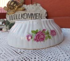 Zsolnay Gyönyörű virágos  rózsás   porcelán pogácsás tál paraszti dekoráció Gyűjtői darab falusi