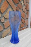 Gyönyörű színű kék  repesztett Fátyolüveg fátyol karcagi berekfürdői üveg váza   Gyűjtői