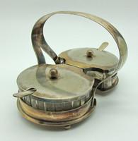 B516 Antik ezüst vagy ezüstözött dupla vaj sajtkínáló ólomüveggel - álomszép gyűjtői darab