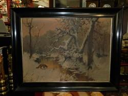 """Neogrády Antal (1861 - 1942) """"Róka a pataknál"""" téli tájkép 100*75 cm"""