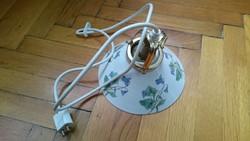 Vintage lámpa virágmintás porcelánbúrával