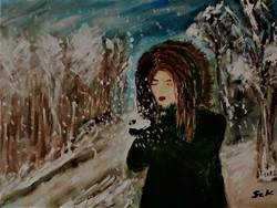 """Kata Szabo: """"waterfall"""" oil-watercolor painting, canvas, 30 x 40 cm, signed"""
