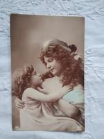 Antik, német kézzel színezett, fotólap/képeslap anya gyermekével, 1910 körüli