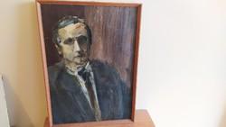 Régi szignózott portré festmény