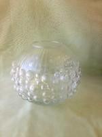 Gömb váza, Üveg, bülykös, buborékos üveg váza