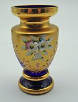 B569 Bohemia kobaltkék aranyozott virágmintás váza - hibátlan szép állapotban