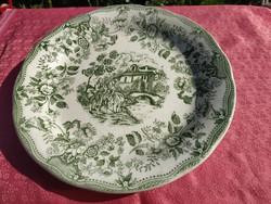 Antik angol jelenetes porcelán nagy kerek tányér