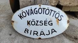 Zománc tábla Kővágótöttös Község Bírája felirattal, eredeti