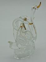 B577 Kristály üveg aranyozott hattyúk - hibátlan szép állapotban