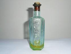 Antik kis üveg palack - gyógyszertári gyógyszeres, hatszögletű, KÜLSŐLEG felirat - 80 ml