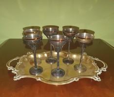 6 darabos alpakka pohár készlet + réz tálca együtt
