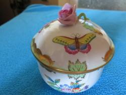 Herendi lila rózsafogós bonbonier, dúsan festett , exportra gyártott
