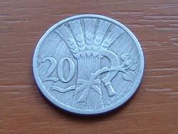 CSEHSZLOVÁKIA 20 HALERU 1924 75% réz, 25% nikkel Pénzverde Körmöcbánya #