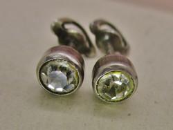 Szépséges antik button csavaros végű ezüst fülbevaló fehér kövekkel