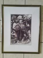 Mihály Schéner: Birds, original pen drawing with signature