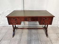Angol mahagóni íróasztal 5 fiókkal