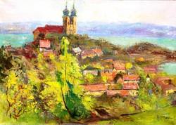 Csupor László (1914-1990): Tihany látképe az apátsággal - olaj-vászon festmény, keretezve