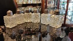 Ezüst sószóró fejű  fűszeres, bors szóró fűszertartó üveg betéttel.6 db .