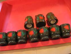 10 db-os retro  festett pipacsos  fa pálinkás, fűszeres készlet