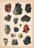 Ásvány (21), antimonit, bazaltkő, meteor kő, magnetit, galenit, litográfia 1899, eredeti, 24 x 34 cm