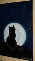 Cica éjjeli holdvilágban című festmény