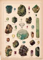 Ásvány (19), litográfia 1899, eredeti, 24 x 34 cm, nagy méret, gyémánt, topáz, rubin, zafír, smaragd