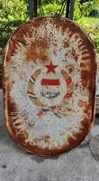 Zománc tábla Anyakönyvi Kerület Kővágótöttös felirattal, eredeti