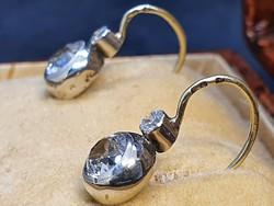 Antik Arany - Ezüst Button Fülbevaló 1.10 Cts Zafírral