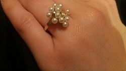Gyémánt  gyöngyökkel 14.kr gyűrű.ÚJ