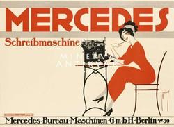 Vintage német írógép reklám hirdetés plakát reprint nyomat Mercedes titkárnő piros ruhában