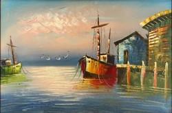1D956 XX. századi festő : Hajók a kikötőben