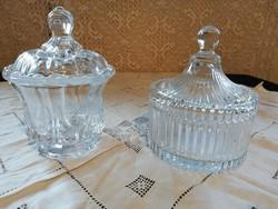 Eladó régi öntött üveg bonbonierek fedővel gyönyörű állapotban!
