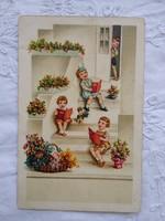Antik litho/litográfiás gyerekmotívumos képeslap/üdvözlőlap éneklő gyerekek, virágok 1930-as évek