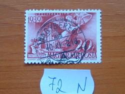 MAGYAR KIR. POSTA 20 FILLÉR 1940 HORTHY ADMIRÁLIS 20 ÉVE NAGYBEREG 1940 72N