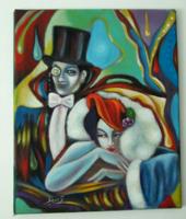 Egy kis flört  / art deco / Seres Sándor olaj festménye