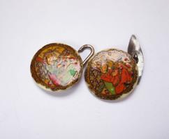 Régi ázsiai,kézzel festett ezüst/csont gombok.