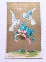 Régi képeslap 1909 galambos dombornyomott nefelejcses levelezőlap