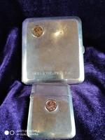 Ezüst 900-as női cigaretta dózni gyufatartójával, 14 karátos arany Szent György med.