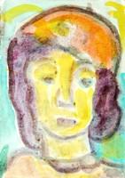 Németh Miklós (1934-2012): Svájcisapkás nő, 1988