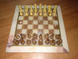 Vintage sakk készlet kő táblával chess set with stone table
