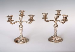 Ezüst art deco gyertyatartó párban (3 ágú)