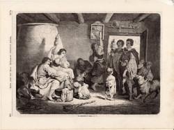 Esküvői keserű, metszet 1868, 22 x 31 cm, Magyarország, fametszet, esküvő, ház