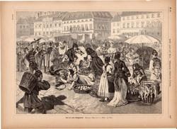 Pesti baromfipiac, metszet 1887, 23 x 32 cm, Magyarország, fametszet, Budapest, tyúk, baromfi, piac