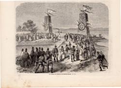 Balaton csatorna, metszet 1864, 16 x 22 cm, Magyarország, fametszet, zsilip, avatás