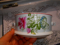 Antik rózsás nefelecses  porcelán komatál , ételtartó