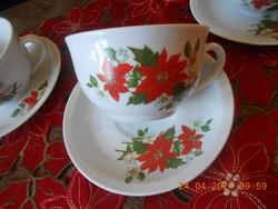 Zsolnay porcelán mikulásvirág mintás teás csészék