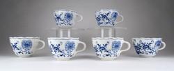 1E070 Antik hat darabos Meisseni hagymamintás kék fehér porcelán kávéskészlet