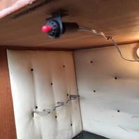 Midcentury bar szekrény/koktél szekrény kapcsoló gomb, piros szinu